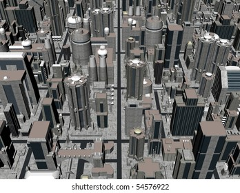 Render of dystopian city