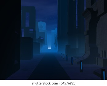 Render of dystopian city in the night