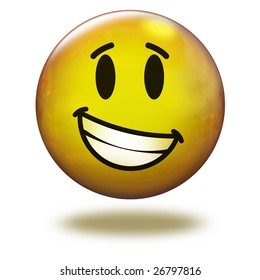 Render emoticon 3D. Smiling with teeth