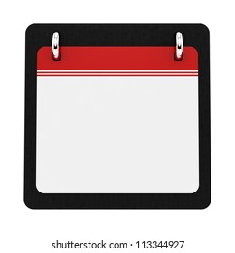 render of an empty calendar, isolated on white