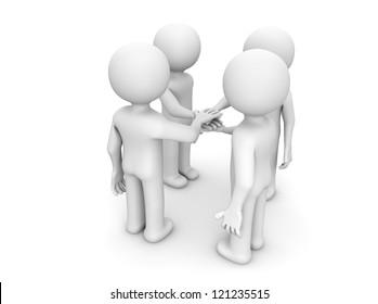 render of four characters shaking hands