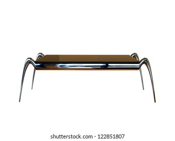 Render of a futuristic table in chrome isolated on a white background