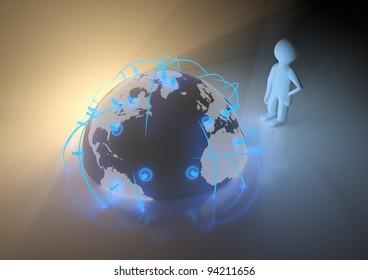 render of a global social network