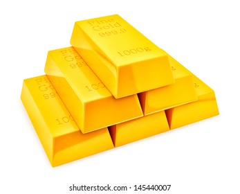 render of gold bars, isolated on white