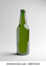 A render of a green beer bottle over a white background