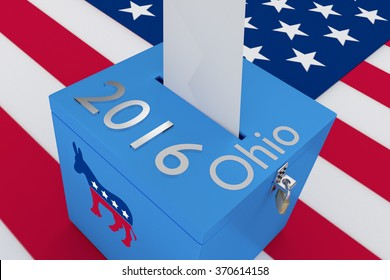 Render illustration of 2016 and Ohio titles with the donkey icon on ballot box , isolated on white, with US flag as a background.
