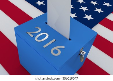Render illustration of 2016 title on ballot box, with US flag as a background.