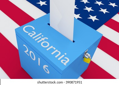 Render illustration of California, 2016 titles on ballot box, with US flag as a background. Election Concept.