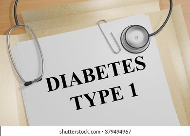 Render illustration of Diabetes Type 1 On Medical Documents