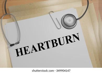Render illustration of Heartburn title on Medical Documents