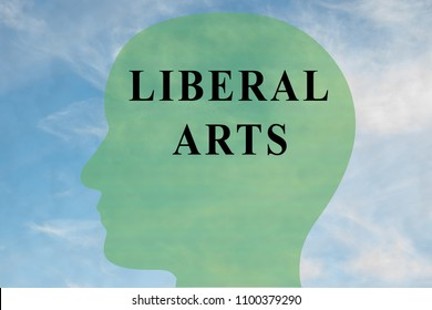 Render illustration of LIBERAL ARTS title on head silhouette, with cloudy sky as a background.