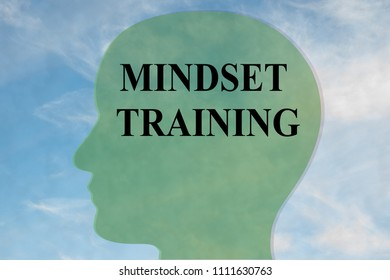 Render illustration of MINDSET TRAINING title on head silhouette, with cloudy sky as a background.