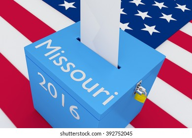 Render illustration of Missouri, 2016 titles on ballot box, with US flag as a background. Election Concept.