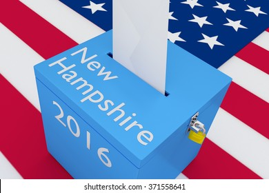 Render illustration of New Hampshire, 2016 titles on ballot box, with US flag as a background.