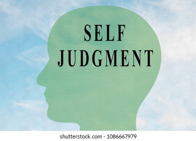 Render illustration of SELF JUDGMENT title on head silhouette, with cloudy sky as a background.