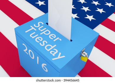 Render illustration of Super Tuesday, 2016 scripts on ballot box, with US flag as a background. Election Concept.