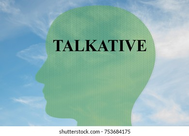 "Render illustration of ""TALKATIVE"" title on head silhouette, with cloudy sky as a background."