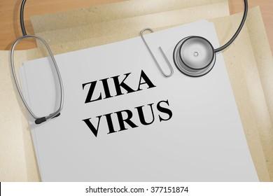 Render illustration of Zika virus Title On Medical Documents