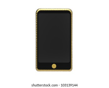 Render of a luxurious golden mobile isolated on a white background