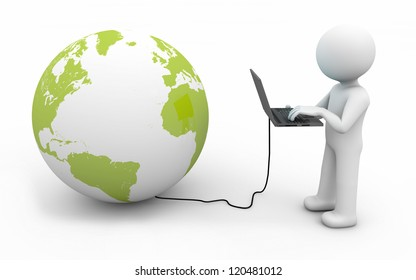 render of a man with a computer connected to the world