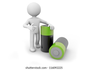 render of a man with two batteries