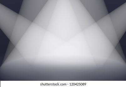 Render of multiple lights lighting a fake stage