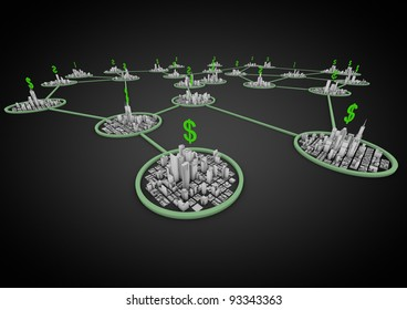 render of a network of cities connected through finance