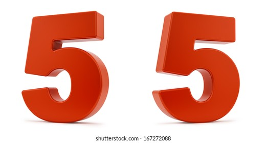 render of the number 5 from two different angles, isolated on white