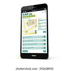 render of a phone with car sharing app on the screen isolated. Screen graphics are made up.