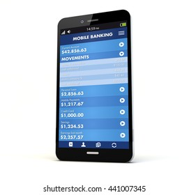render of a phone with online banking on the screen isolated. Screen graphics are made up. 3d rendering