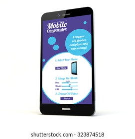 render of a phone with online mobile rates and plans comparator on the screen isolated. Screen graphics are made up.