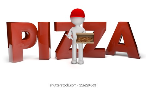 render of a pizza guy and the text pizza