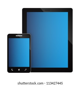 render of a smartphone and a tablet PC, isolated on white