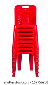 render of  stacked red chairs