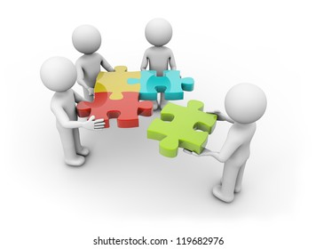 render of a team making a puzzle