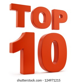 render of top 10, isolated on white