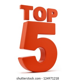 render of top 5, isolated on white