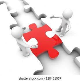 render of two man meeting over a puzzle