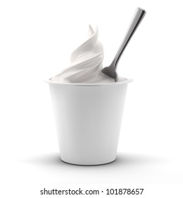 render of a yogurt jar with spoon isolated on white background