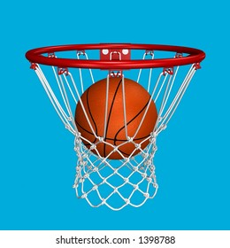 Rendered basketball in the basket over blue background (suitable for fast selection)