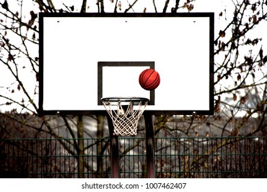 Rendered basketball on the ring