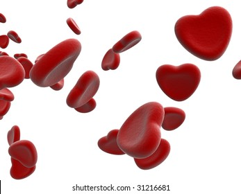 rendered blood cells on white