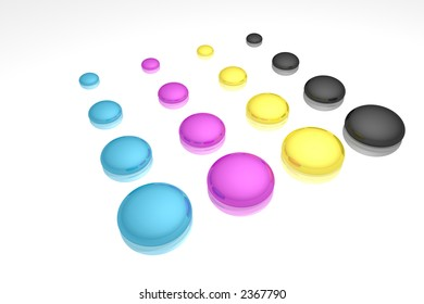 rendered CMYK ink drops on a white reflective background