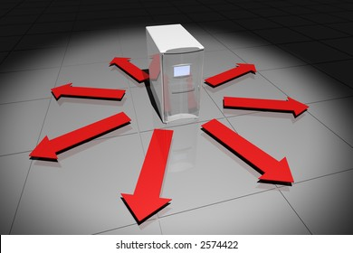 rendered computer-like object with arrows pointing away