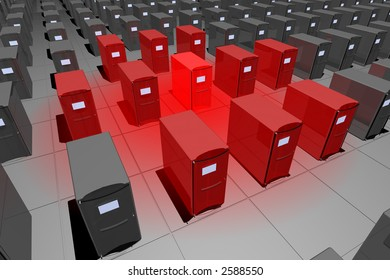 rendered computer-like objects with a symbolic red colored alert area