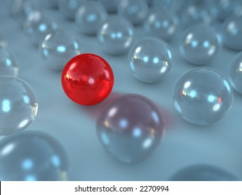rendered glass spheres with one different in between