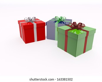 rendered illustration of xmas gifts box decoration