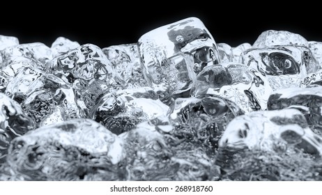 Rendered image of Ice cube on the black background