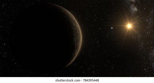 A rendered Image of the Jupiter Moon Callisto on a starry background. 3D rendering. Elements of this image furnished by NASA