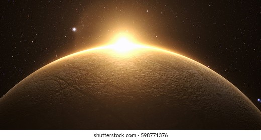 A rendered Image of the Jupiter Moon Europa on a starry background. 3D rendering. Elements of this image furnished by NASA